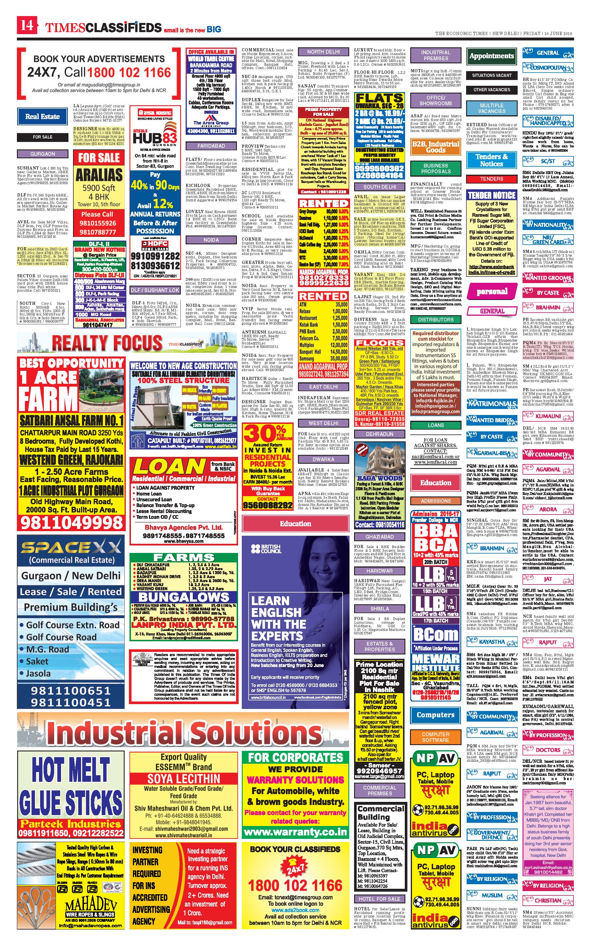 Economic Times Classified Ad Rates