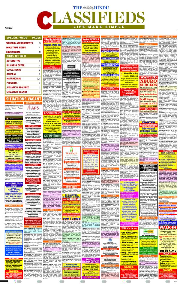 The Hindu Classifieds Epaper