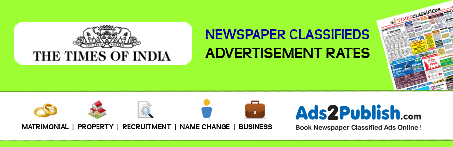 Times of India Newspaper Classified Ad Rates