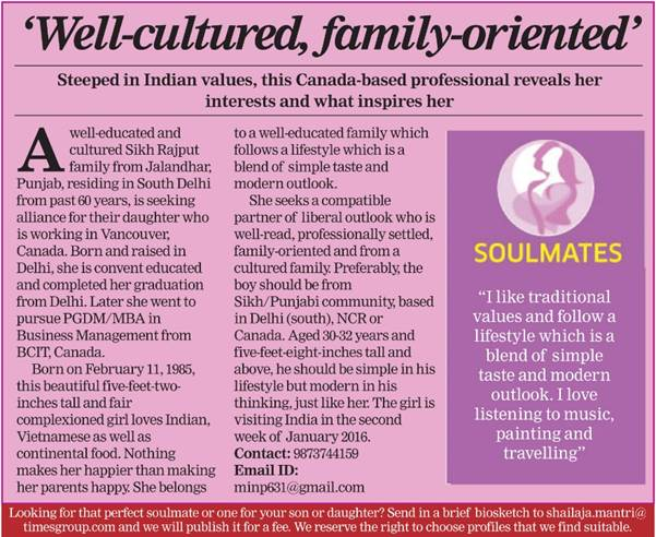 Times Soulmate Matrimonial Article 3