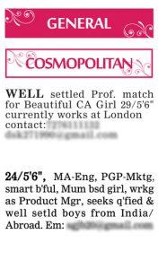 Times of India Matrimonial Wanted Groom Ad Sample Cosmopolitan
