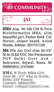 Times of India Matrimonial Wanted Groom Ad Sample Jat by Community